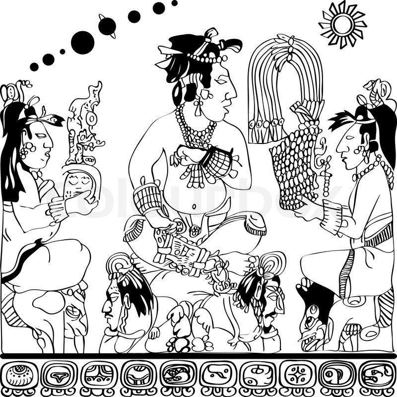 Drawing from the panel of the Gods at Palenque, black and white ...