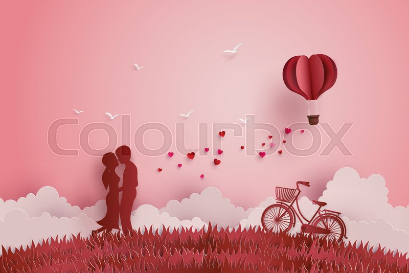 Illustration Of Love And Valentine Day Lovers Stand In The Meadows