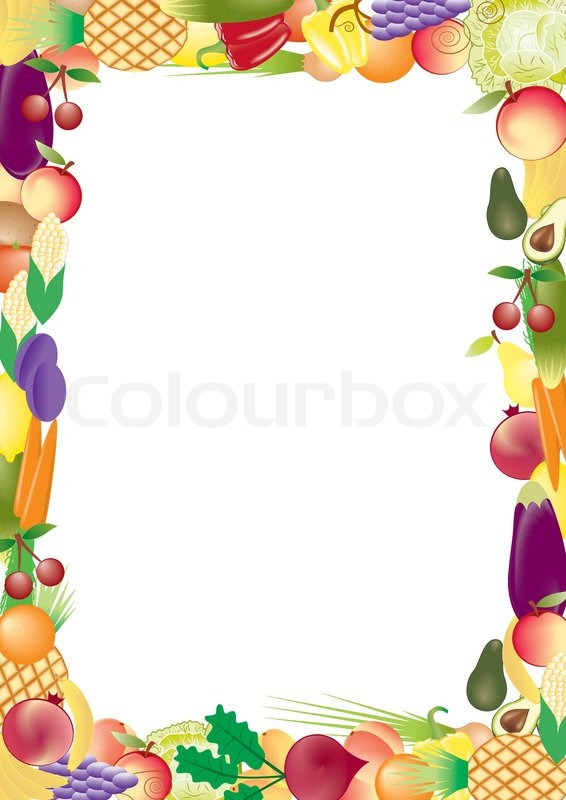 fruits and vegetables vector frame stock vector colourbox grocery cart clip art free Grocery Store Clip Art
