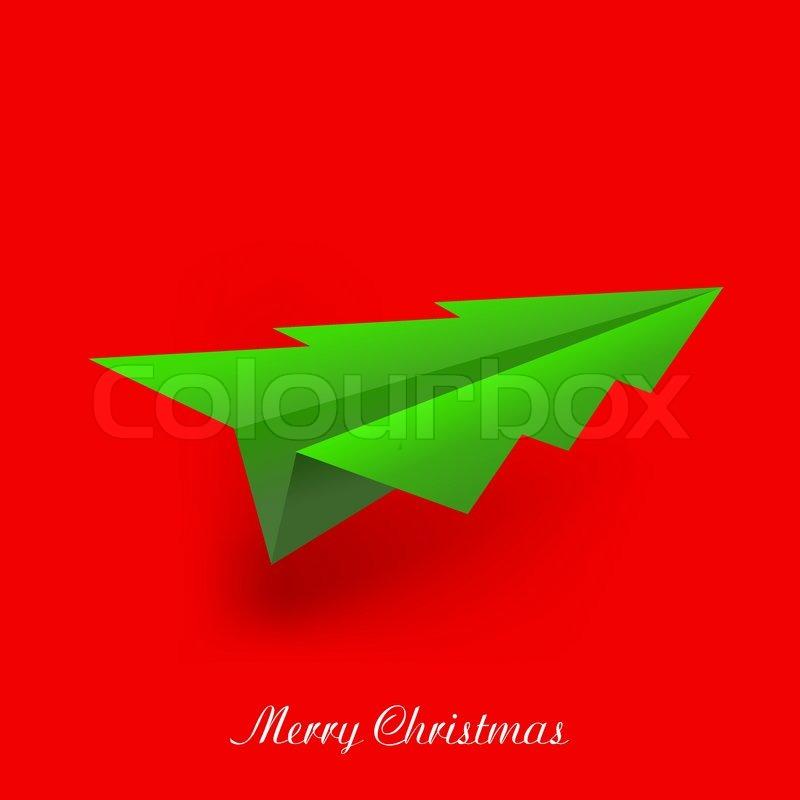 konzept des weihnachtsbaum und origami flugzeug vector. Black Bedroom Furniture Sets. Home Design Ideas