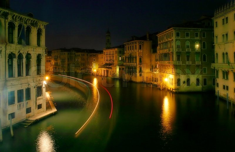 Light Traces On Grand Canal At Night In Venice Italy Stock Photo Colourbox