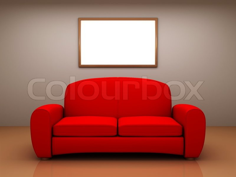Red Sofa In A Room With A Blank Picture Stock Photo Colourbox