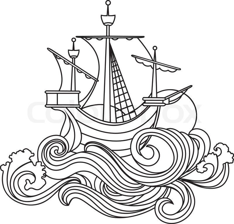 sailing vessel in art nouveau style stock vector colourbox Pirate Ship Design Schematics
