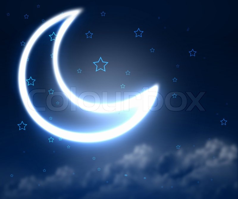 Dark Blue Night Sky Background With Moon And Twinkling Stars