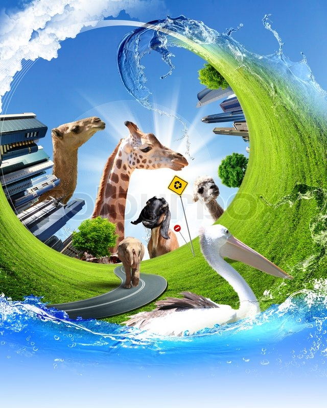 Nature Ecology: Nature, Ecology And Animals Protection Concept Collage