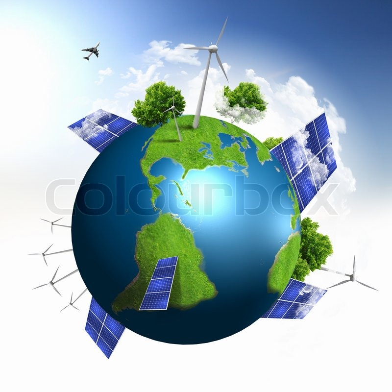 green planet earth with solar energy batteries installed on it stock photo colourbox. Black Bedroom Furniture Sets. Home Design Ideas