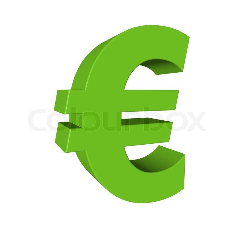 Green Euro Sign Isolated On White Stock Photo Colourbox