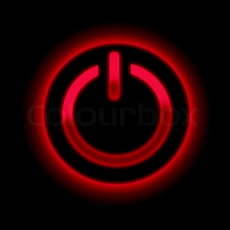 Picture Of A Power Button Against Black Background Stock