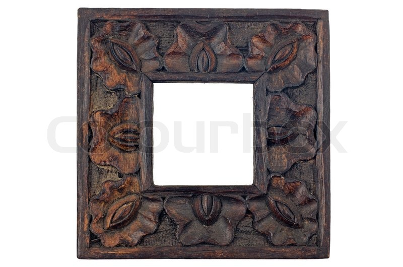 Carved Wood Picture Frame Isolated On Stock Photo