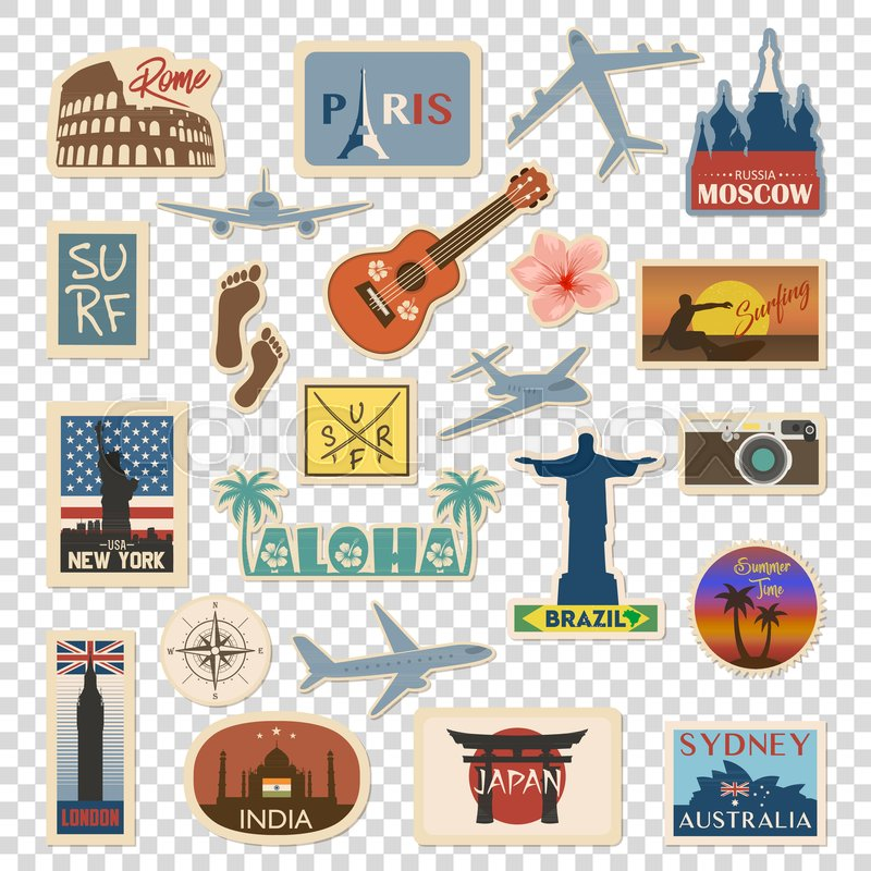 Vector Travel Sticker And Label Set With Famous Countries Cities