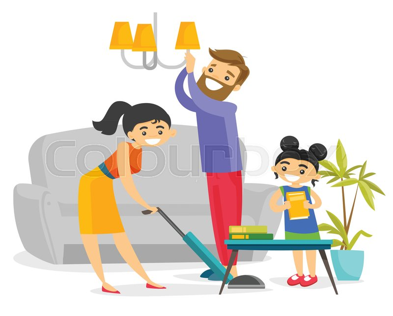 Family Cleaning Services : Young caucasian white family having fun while cleaning