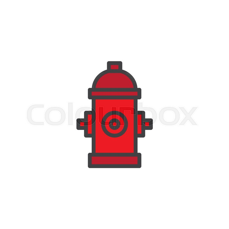 Fire Hydrant Filled Outline Icon Line Vector Sign Linear Colorful