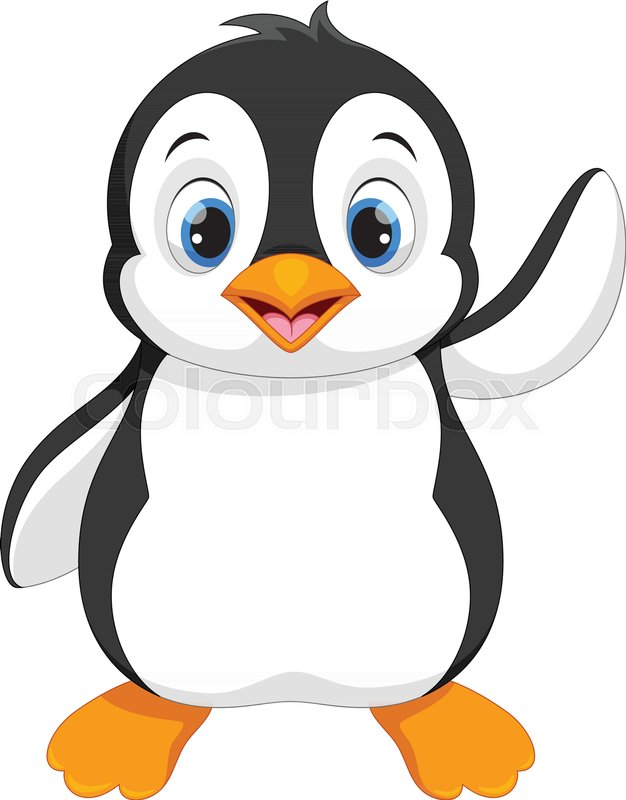 vector illustration of cute baby penguin cartoon isolated on white rh colourbox com cute penguin cartoon pictures penguin cartoon images free