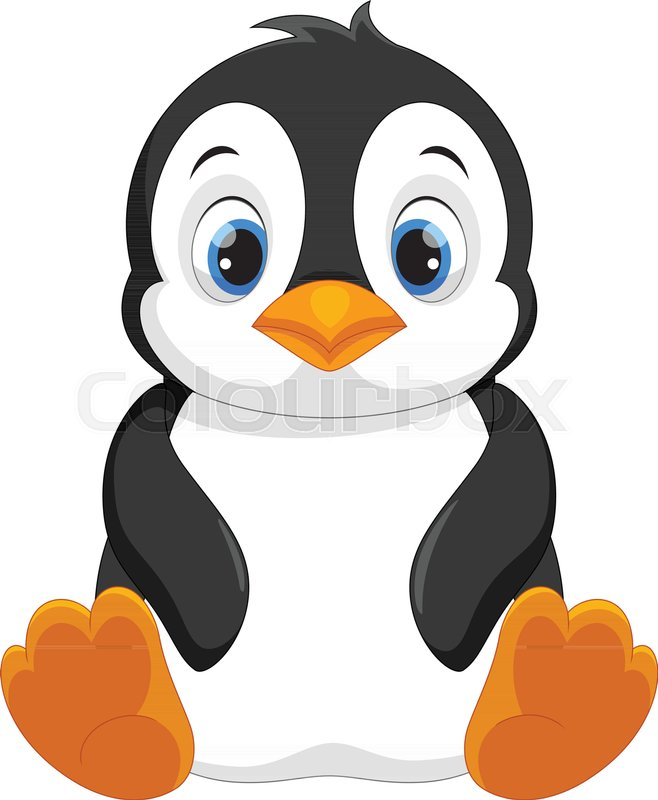 vector illustration of cute baby penguin cartoon sitting isolated on rh colourbox com penguin cartoon images png penguin cartoon images black and white