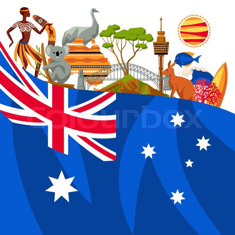 Australia Background Design Australian Traditional Symbols And