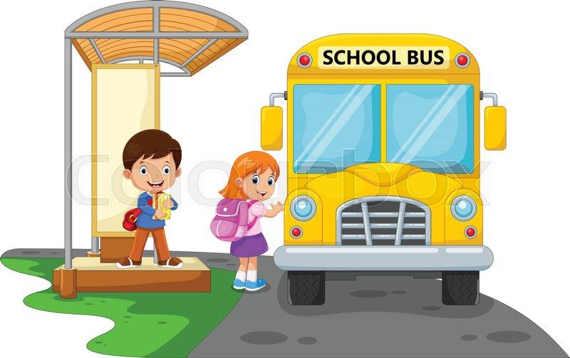back to school vector illustration of cartoon kids going Bus Stop Sign Logo School Bus Stop Ahead Sign Clip Art