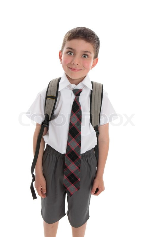Little Boy Ready For His First Day Of School Stock Photo