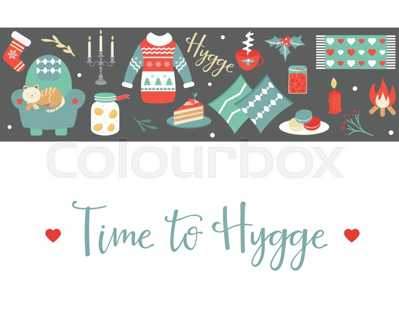 Hygge background with cozy things and elements danish living hygge background with cozy things and elements danish living concept greeting card template stock vector colourbox m4hsunfo