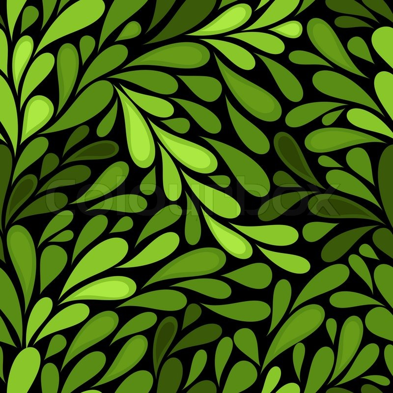 dark seamless pattern with green leaves vector stock