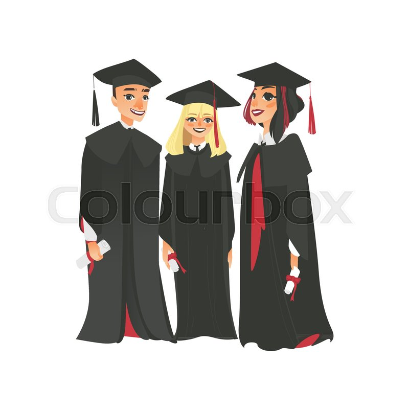 Group of three happy college graduates in graduation cap and gown ...
