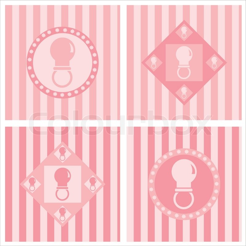 Set Of 4 Cute Pink Baby Pacifiers Stock Vector Colourbox