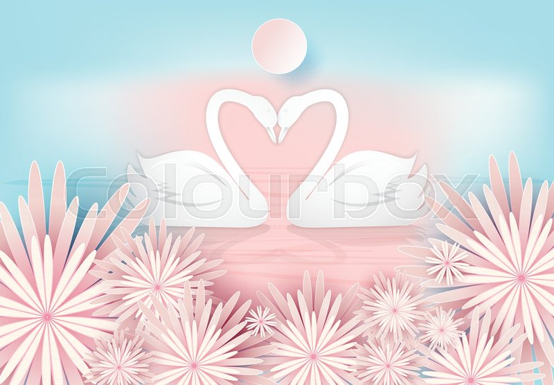 Swan Couple And Pink Floral Paper Art Style Valentine Concept Paper