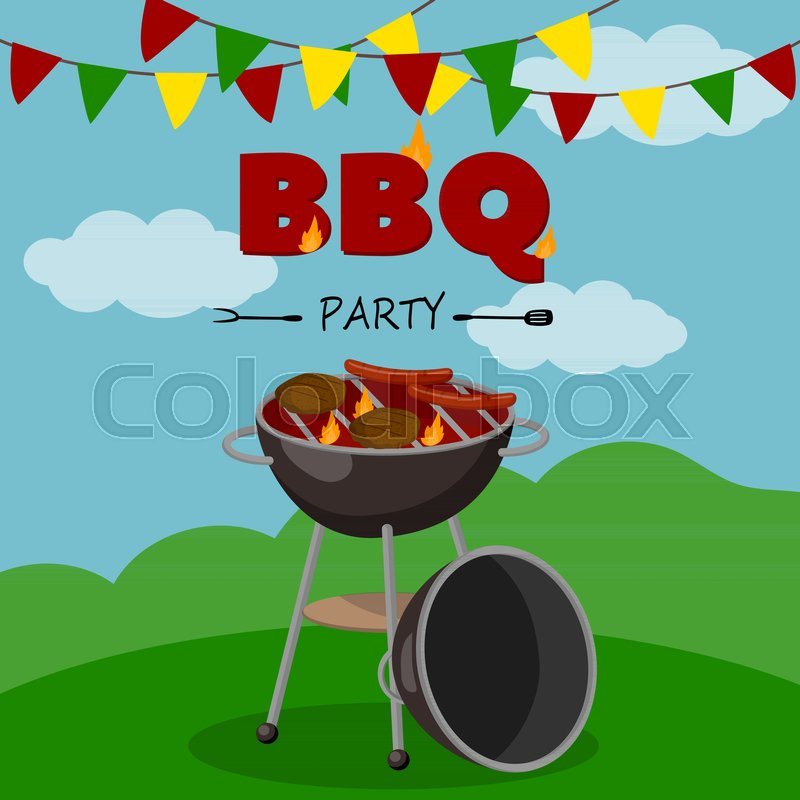 Bbq party banner cartoon style poster welcome invitation to bbq party banner cartoon style poster welcome invitation to barbecue picnic vector illustration stock vector colourbox stopboris Choice Image