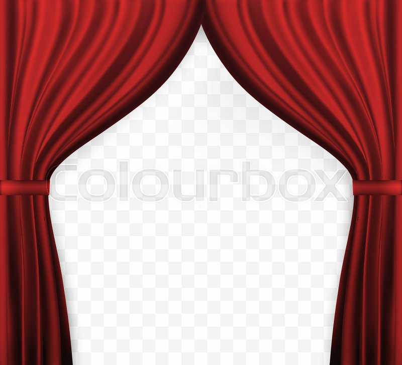 Naturalistic Image Of Curtain Open Curtains Red Color On Transparent Background Vector Illustration EPS10