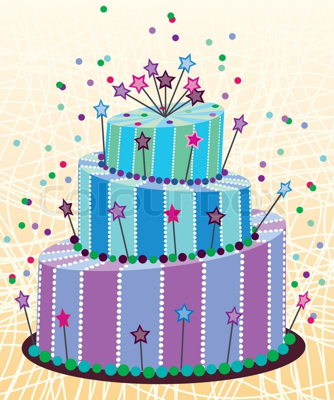 Vector Big Birthday Cake Stock Vector Colourbox