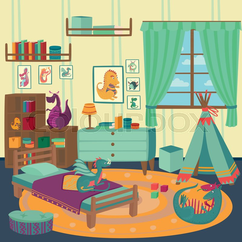 Kids Room Decoration Space Theme Vector Illustration: Playing Room For Boy With Dragon Toys, ...