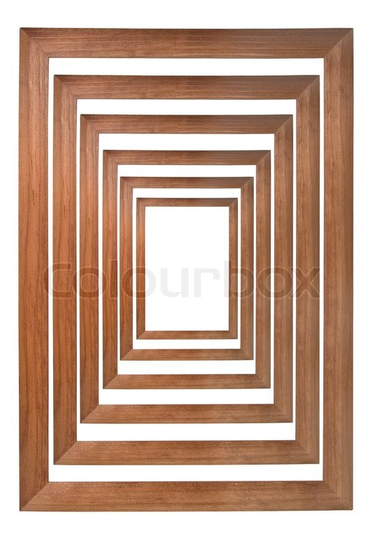 Multiple wooden photo frames isolated on white and forming a tunnel ...
