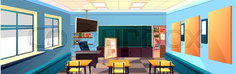 Modern Classroom Vector ~ Modern flat illustration education background empty