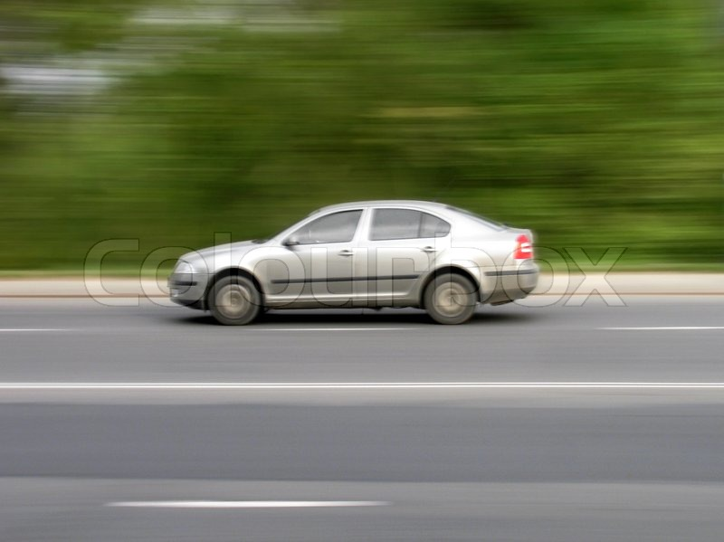 Car Moving On A Road Stock Image Colourbox