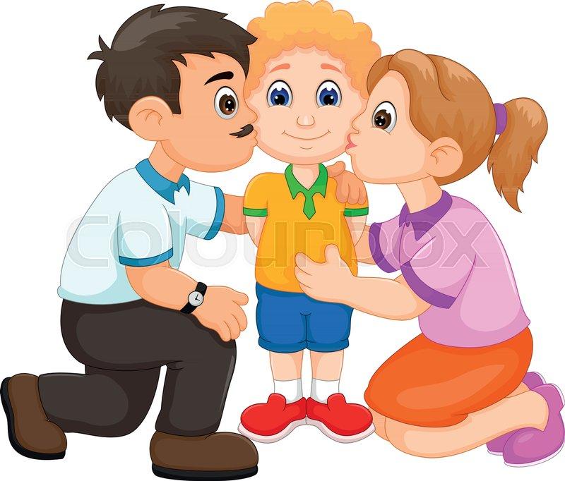vector illustration of happy family cartoon stock vector colourbox rh colourbox com family picture cartoon black and white family picture cartoon black and white