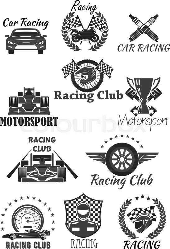 Racing Club And Motorsport Isolated Symbol Set Racing Car