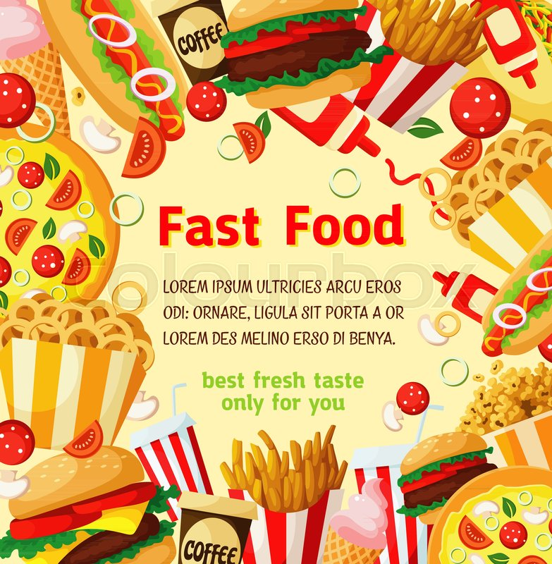 fast food menu poster template design for fastfood restaurant or