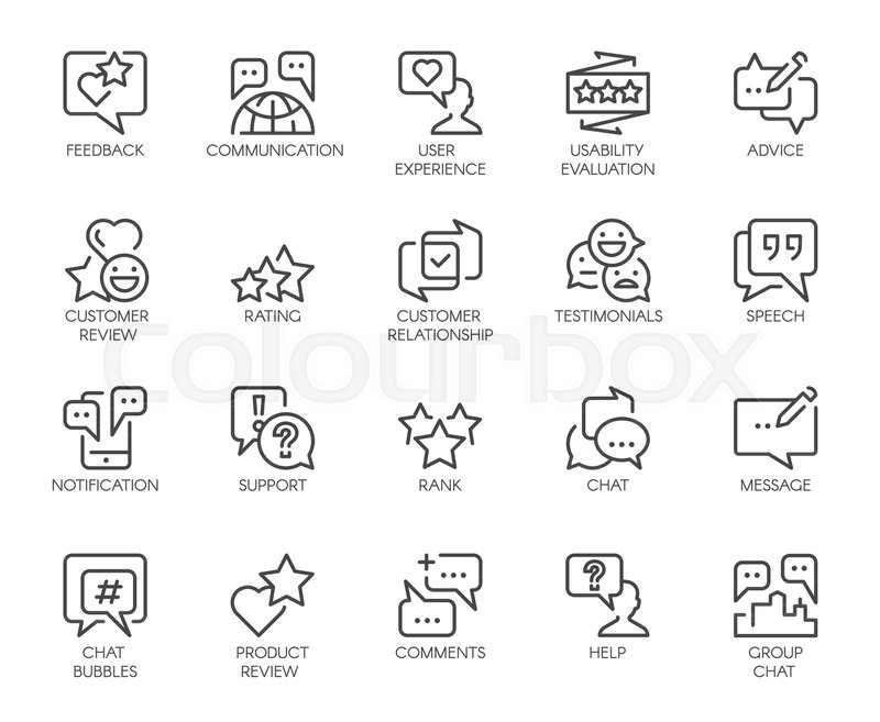 Review Line Icons Big Set Of 20 Outline Pictograms Isolated On