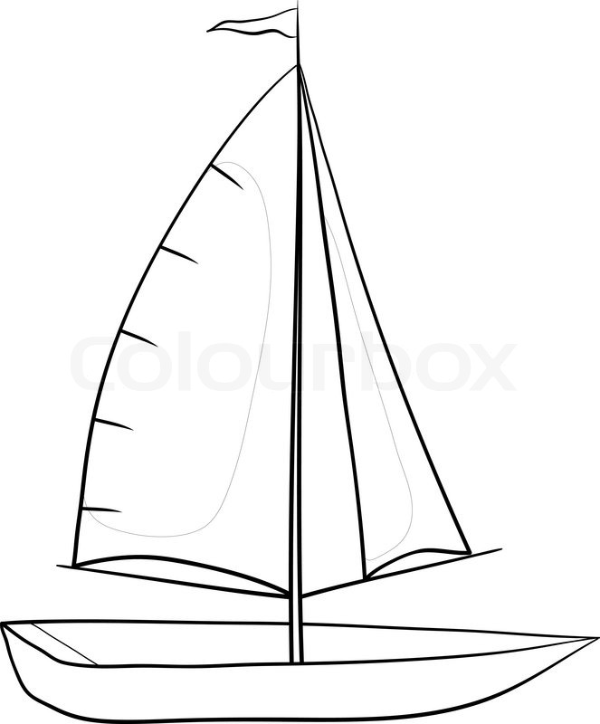 Sailing Boat With A Flag On The Mast Stock Vector