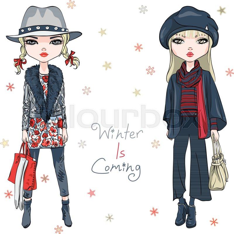 ba9884372e93 Vector beautiful fashion hipster girls ...