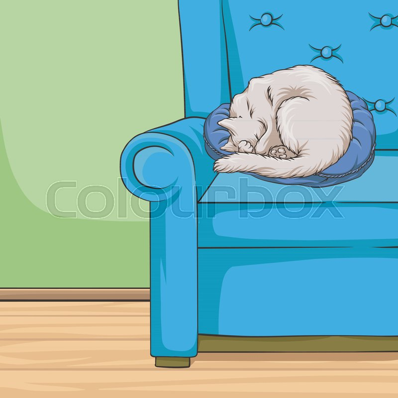 Cute White Cat Pet Animal Sleeping On A Blue Armchair Room Interior Vintage Style Home Vector Illustration Hand Drawn Design Element