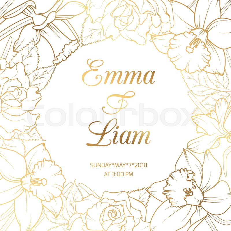Narcissus Daffodils Rose Peony Flowers Wreath Border Frame Wedding Marriage Event Invitation Card Template On Clean White Background