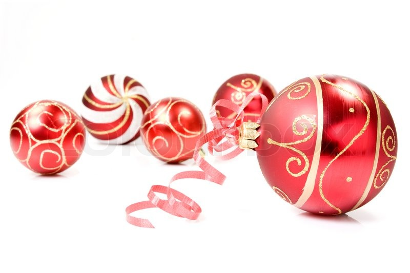 Red christmas baubles over a white background stock for White christmas baubles