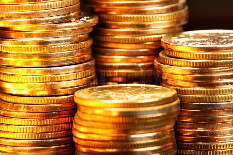 Stacks Of The Gold Coins Close Up Stock Photo Colourbox