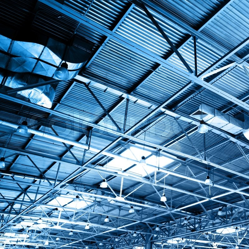 Ceiling of storehouse toned in the blue color, stock photo