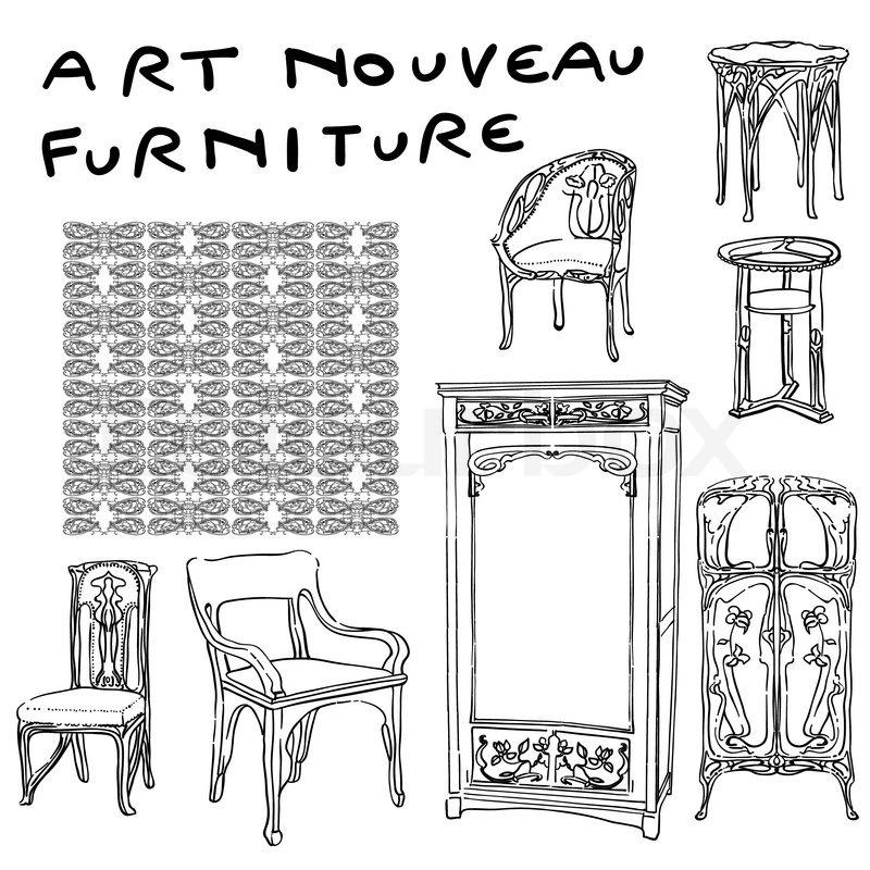 authentische jugendstilhaus m bel kritzeleien und jugendstil muster isoliert auf wei. Black Bedroom Furniture Sets. Home Design Ideas