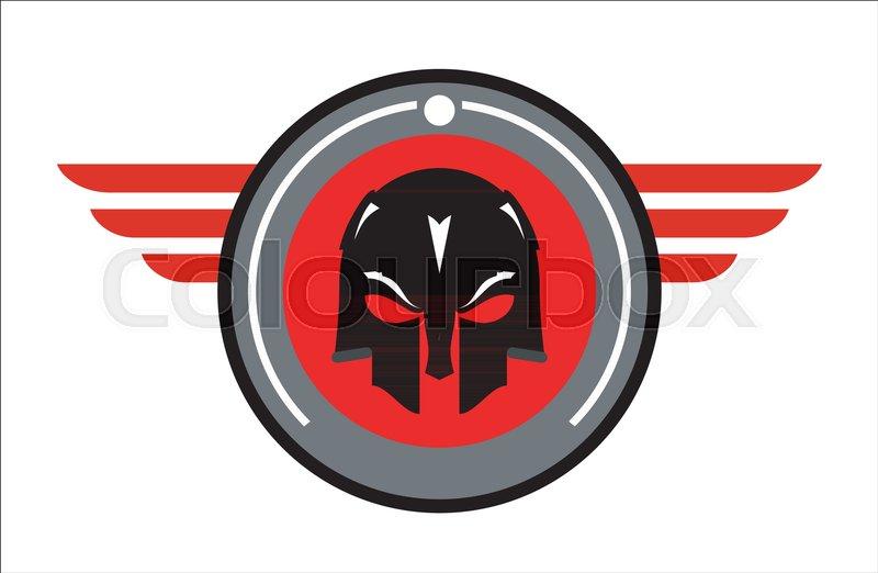 warrior head icon on winged circle warrior helmet conqueror