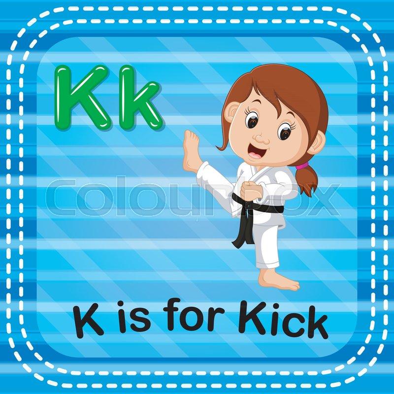 Illustration Of Flashcard Letter K Is For Kick