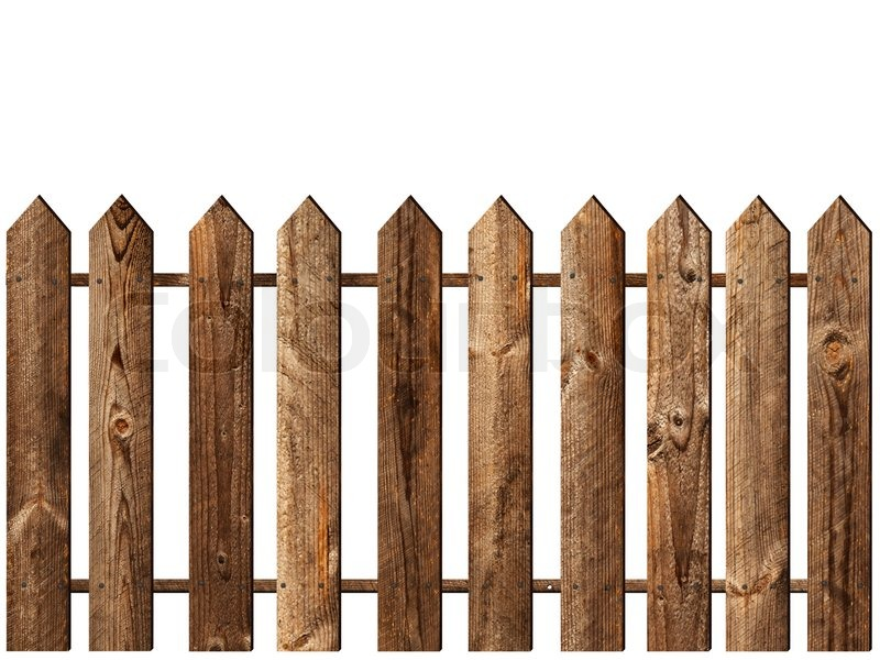 Wooden Fence Over The White Background Stock Photo