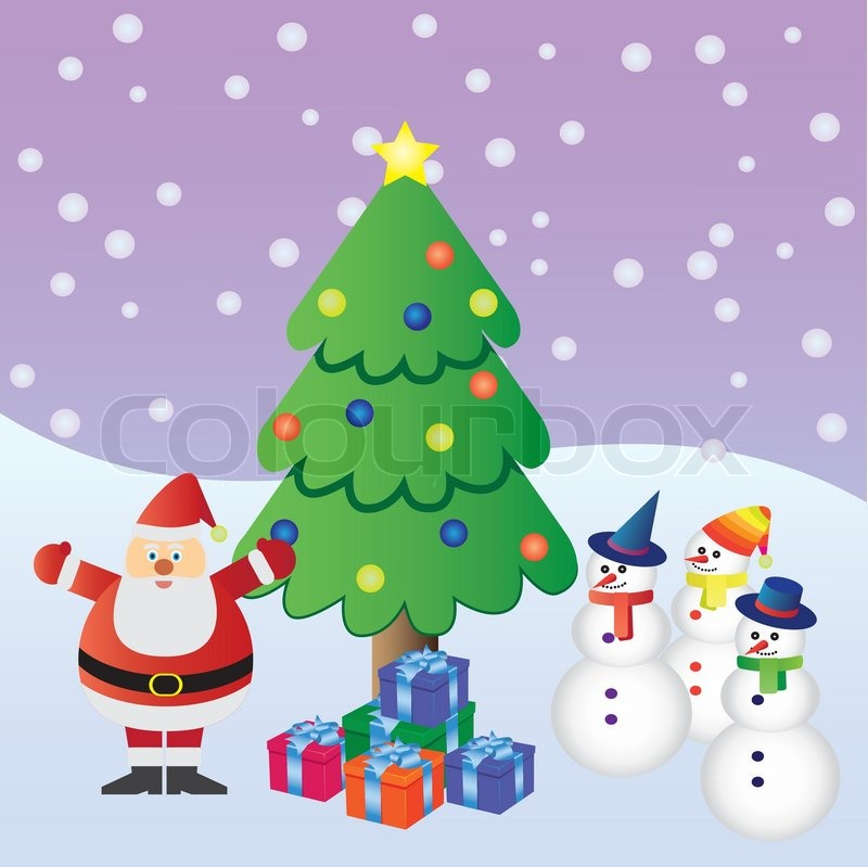 santa claus with presents near christmas tree and three snowmen stock vector colourbox