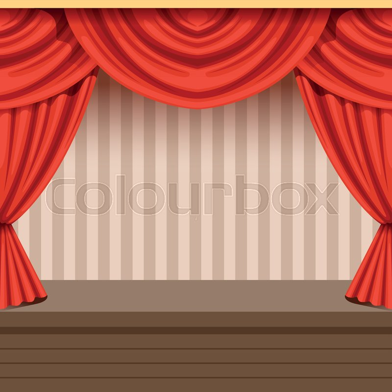 Retro Open Theater Scene Background Design With Red Curtain And Striped Backdrop Wooden Stage Velvet Drapery Lambrequins